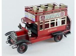 Vintage Red Open Top Bus Model