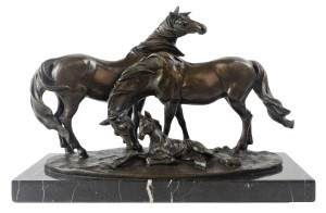 Pair Of Horses and Foal Hot Cast Bronze Sculpture On Marble Base 42cm