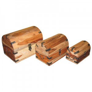 Sheesham Wood Boxes (Domed) Natural Finish - Set/3