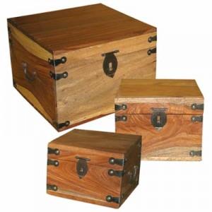 Sheesham Wood Boxes (Square) Natural Finish - Set/3