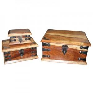 Sheesham Wood Boxes (Rectangular) Natural Finish - Set/3