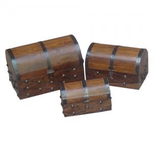 Acacia Lisbon Range Domed Boxes - Set/3