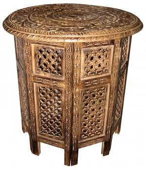 Mango Wood Ornate Round Folding Table