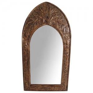 Mango Wood Arched Gothic Mirror Leaf Design (Small)