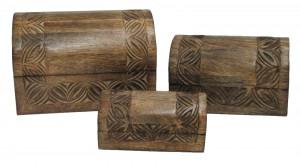 Mango Wood Celtic Domed Boxes - Set/3