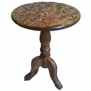 Mango Wood Wine Table Tree Of Life Design