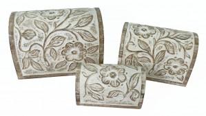 Mango Wood Flower Design Domed Trinket Jewellery Boxes - Set/3