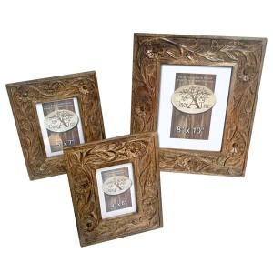 Mango Wood Photo Frames Flower Design - Set/3