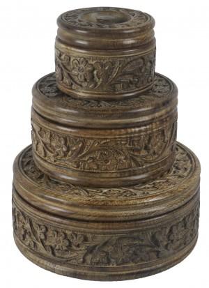 Mango Wood Round Flower Trinket Jewellery Boxes - Set/3