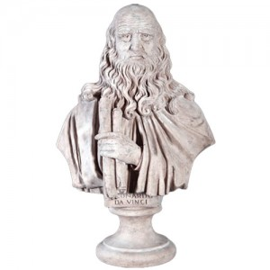 Leonardo da Vinci Bust - Roman Stone Finish