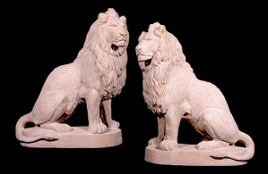 Pr Sitting Lions - Roman Stone Finish