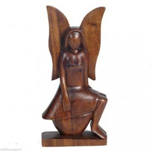 Suar Wood Angel Sitting 30cm