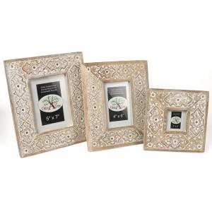 Mango Wood Sulfi Design Photo Frames - Set/3