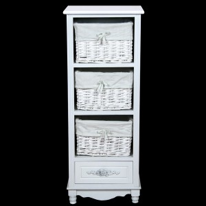 White Bedside Cabinet with 1 Drawer & 3 Baskets