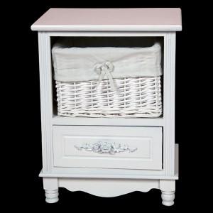 White Bedside Cabinet with 1 Drawer & 1 Basket