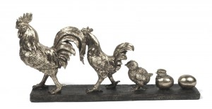 From Egg To Cockeral 18cm - Antique Silver Finish