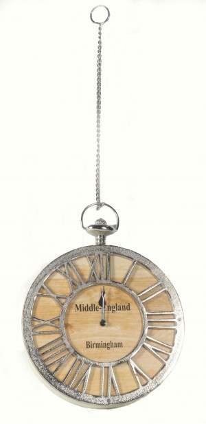 Round Wood & Aluminium Clock Hanging From Metal Chain