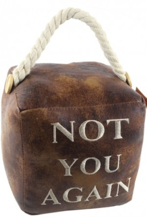 Square Faux Leather 'Not You Again' Doorstop