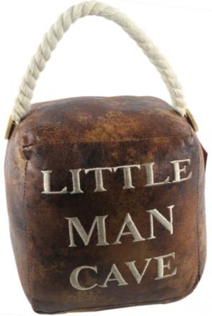 Square Faux Leather 'Little Man Cave' Doorstop