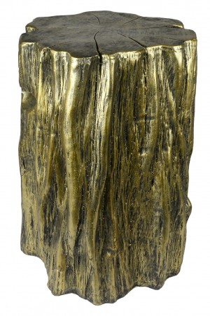Antiqued Gold Tree Trunk Stool/Pedestal (50cm)