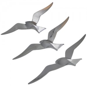 Aluminium Set Of 3 Seagulls Wall Hangings