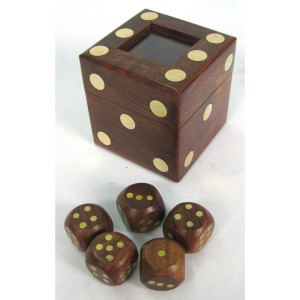 Dice Box Set of 5 Dice (Glass Lid)