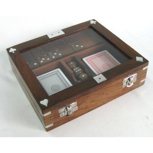 Double Card, Dice & Domino Box (Glass Lid)
