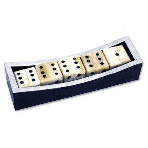 Set Of 5 Dice in Black Wood & Aluminium Box