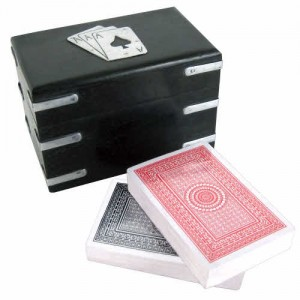 Double Playing Card Box Dark Brown Aluminium Fittings