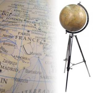 Large Globe On Nickel Stand Dia 45cm