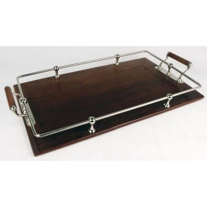 Sheesham Wood Nickel Tray With Handles
