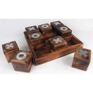 Tic Tac Toe Wood/Nickel Noughts & Crosses Game