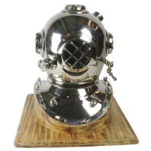 Diving Helmet On Wooden Base
