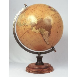 World Globe On Wooden Base Dia 28cm