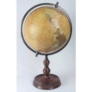 World Globe On Wooden Base Dia 37cm