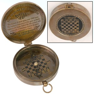Compass Chess Design with Engraved Lid