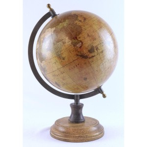 World Globe On Wooden Base Dia 20cm