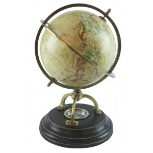 World Globe On Wooden Base With Compass Dia 15cm