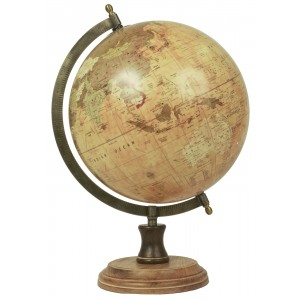World Globe On Wooden Base Dia 24cm