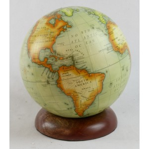 World Globe On Wooden Base Dia 10cm