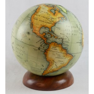 World Globe On Wooden Base Dia 15cm