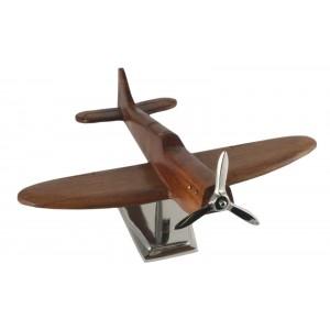 Wood Spitfire Plane With Aluminium Base 29cm