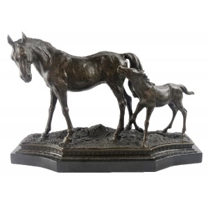 Horse And Foal Hot Cast Bronze Sculpture On Marble Base 56cm