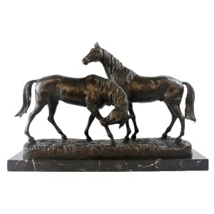 Pair Of Horses Hot Cast Bronze Sculpture On Marble Base