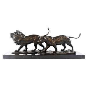 Lion And Lioness Hot Cast Bronze Sculpture On Marble Base