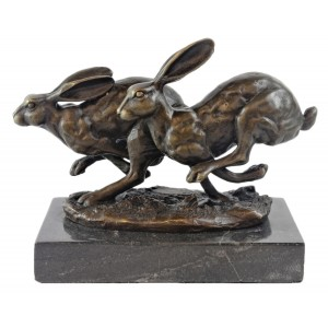 Hares Hot Cast Bronze Sculpture On Marble Base