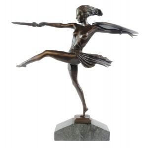 Female Warrior Hot Cast Bronze Sculpture On Marble Base