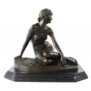 Nude Lady Hot Cast Bronze Sculpture On Marble Base 35cm