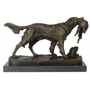 Dog Bronze Sculpture On Marble Base 36cm