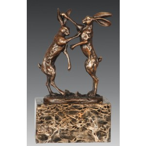 Hares Bronze Sculpture On Marble Base 25cm